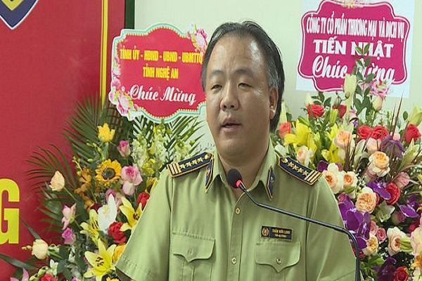 Ông Trần Hữu Linh, Tổng Cục trưởng Tổng Cục quản lý thị trường phát biểu giao nhiệm vụ