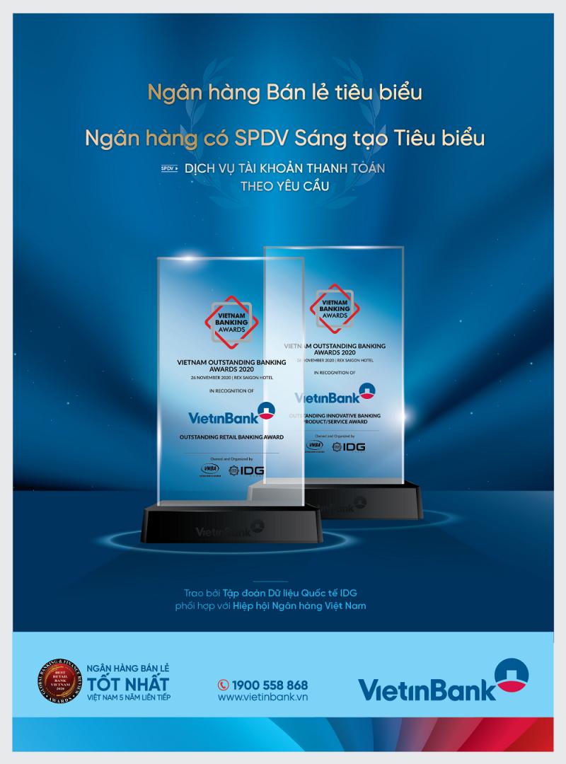 Vietinbank - Ngân hàng bán lẻ tiêu biểu và Ngân hàng có sản phẩm, dịch vụ (SPDV) sáng tạo tiêu biểu