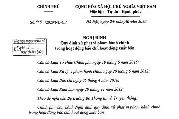 Nghị định 119/2020/NĐ-CP ban hành ngày 07/10/2020