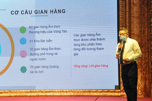 Ông Huỳnh Văn Sơn, TGĐ Công ty CP Ngôi sao Biển Sài Gòn giới thiệu cách thức tổ chức gian hàng.