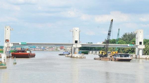 """Công trình cống ngăn triều Phú Xuân (quận 7, TPHCM) thuộc dự án """"Giải quyết ngập do triều khu vực TPHCM"""" có xét đến biến đổi khí hậu giai đoạn 1. (Ảnh: Cao Thăng)"""