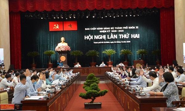 Hội nghị chuyên đề mở rộng đầu tiên của Ban Chấp hành Đảng bộ TP.HCM khóa XI. Ảnh: Tá Lâm