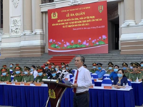 Ông Ngô Minh Châu, Phó Chủ tịch UBND TPHCM phát biểu chỉ đạo tại buổi lễ. Ảnh: CHÍ THẠCH