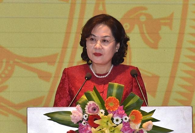 Thống đốc NHNN Nguyễn Thị Hồng phát biểu khai mạc Hội nghị.