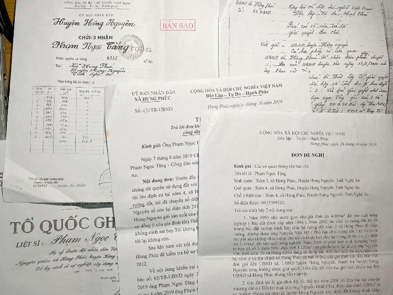 Các đơn thư, hồ sơ liên quan đến hơn 2.000 m2 đất nông nghiệp bị mất?