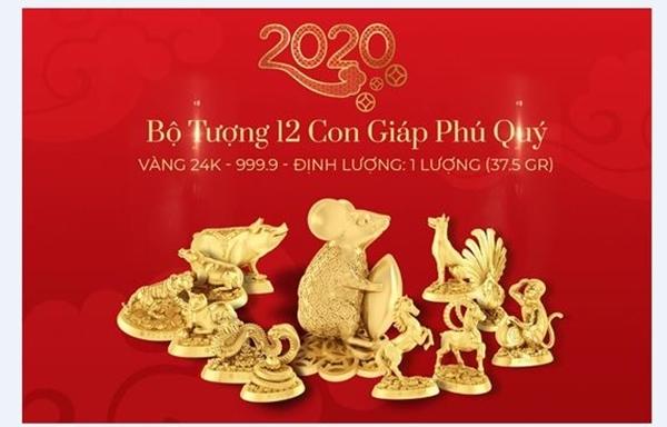Bộ tượng 12 con giáp vàng 24k (999.9) Phú Quý vô cùng tinh xảo