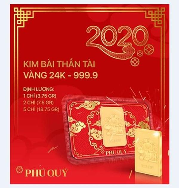 Kim bài Thần tài với định lượng 1 chỉ, 2 chỉ và 5 chỉ trong BST Thần Tài Phú Quý 2020