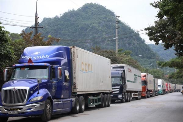 Hơn 100 xe container thanh long, dưa hấu đang chờ ở của khẩu Tân Thanh