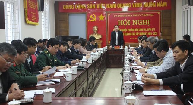 Đồng chí Trần Quang Đảng, Ủy viên Ban Thường vụ, Chủ nhiệm UBKT Tỉnh ủy Thanh Hóa, chủ trì hội nghị.