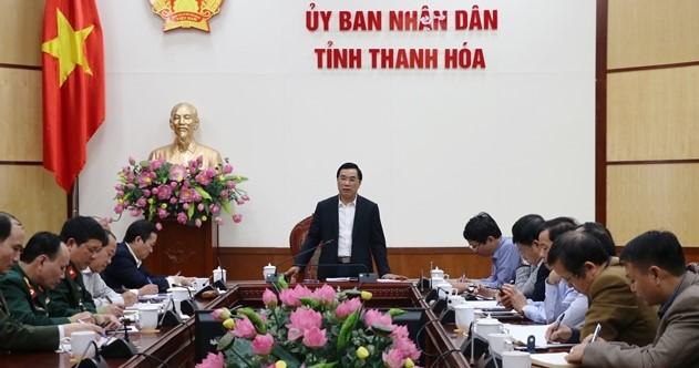 Phó Chủ tịch UBND tỉnh Thanh Hóa Phạm Đăng Quyền, phát biểu chỉ đạo tại cuộc họp.