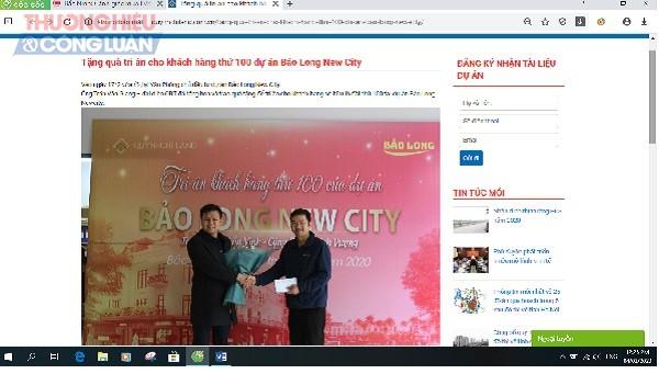 Ngày 17/2/2020 trên website được cho là của Quỳnh Chi Land có tổ chức tri ân khách hàng thứ 100 của dự án Bảo Long New City với sự tham gia của ông Trần Văn Giang, đại diện CĐT - Công ty Đồ gỗ Bảo Long