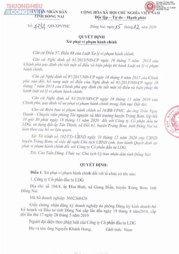 Một phần Quyết định số 4734/QĐ/XPVPHC của UBND tỉnh Đồng Nai