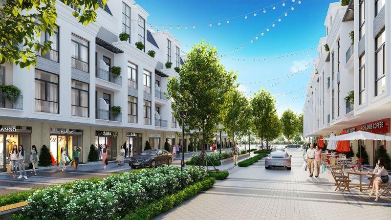 Khu nhà phố thương mại hiện đại, đa dạng tại dự án Hinode Royal Park đáp ứng tối đa nhu cầu mua sắm và giải trí của cư dân. Ảnh: TL.
