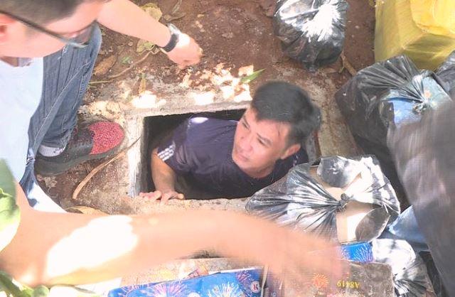 Căn hầm trú ẩn trong vườn nhà Luân.