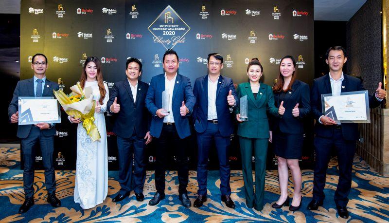 Ban lãnh đạo DKRA Vietnam và các công ty thành viên vinh dự đón nhận hai giải thưởng lớn tại lễ trao giải Dot Property Southeast Asia Awards