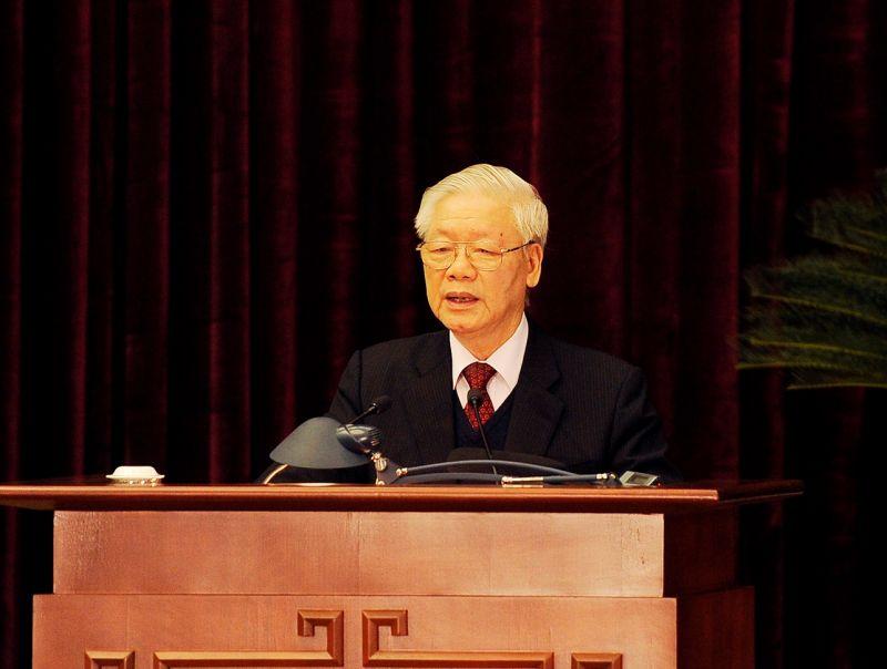 Tổng Bí thư, Chủ tịch nước Nguyễn Phú Trọng phát biểu bế mạc Hội nghị Trung ương 15. Ảnh VGP