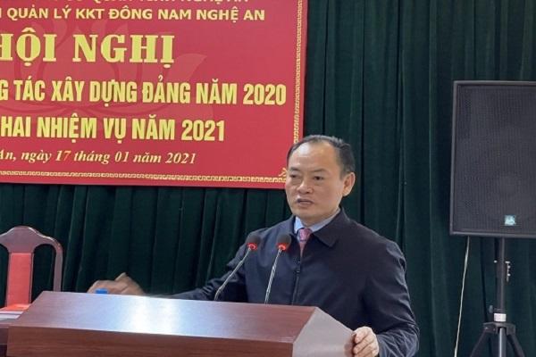 Trưởng ban Quản lý Khu Kinh tế Đông Nam Lê Tiến Trị phát biểu kết luận tại hội nghị