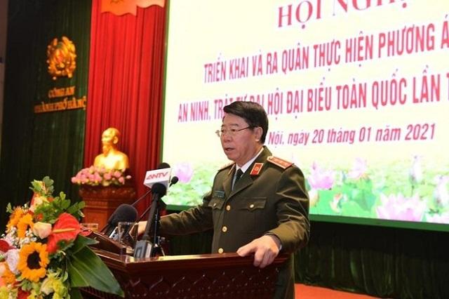 Thứ trưởng Bộ Công an Bùi Văn Nam phát biểu tại lễ ra quân.