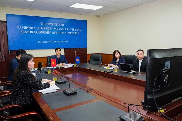 Hội nghị Quan chức kinh tế cấp cao Campuchia - Lào - Mianma - Việt Nam (CLMV SEOM) lần thứ 20 được tổ chức theo hình thức trực tuyến