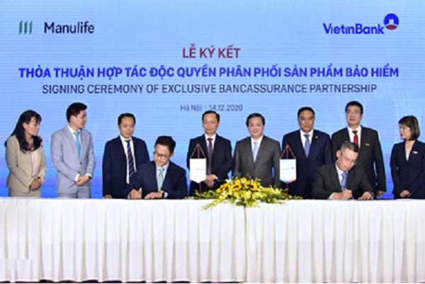 VietinBank đã ký kết thành công hợp đồng hợp tác độc quyền phân phối bảo hiểm với Manulife Việt Nam