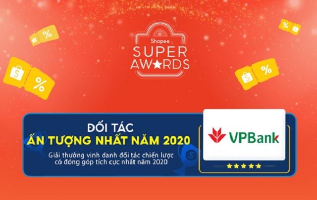 Chứng nhận Đối tác tiêu biểu nhất 2020 mà Shopee dành cho VPBank