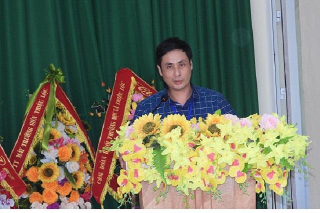 Ông Vũ Văn Hoàn- Bí thư Đảng ủy xã Triệu Lộc phát biểu tại hội nghị