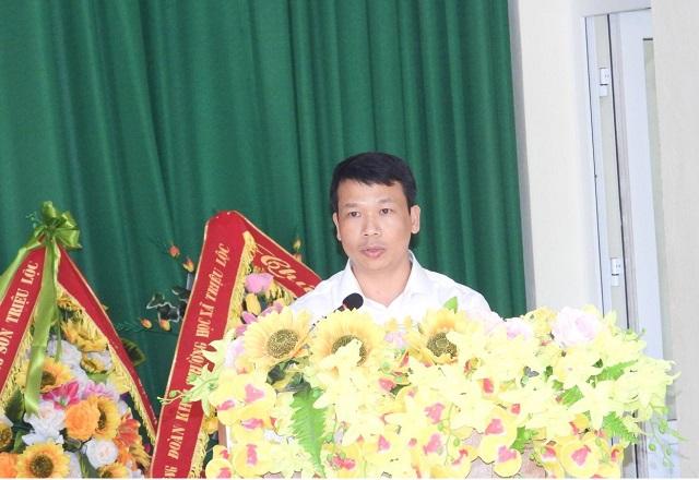 Ông Trịnh Cao Sơn- Phó Chủ tịch UBND huyện Hậu Lộc phát biểu tại Hội nghị