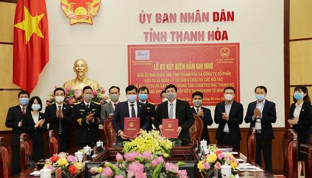 lễ ký kết Biên bản ghi nhớ với Công ty CP Đầu tư và quản lý tài sản Á Châu và các đối tác về Dự án đầu tư Trung tâm Logistics Bắc Trung Bộ và xây dựng hạ tầng Khu công nghiệp số 6 tại Khu Kinh tế Nghi Sơn.