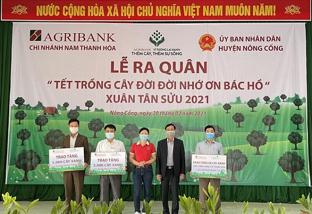 """Agribank Nam Thanh Hóa triển khai chương trình """"Tết trồng cây đời đời nhớ ơn Bác Hồ - Xuân Tân Sửu 2021"""