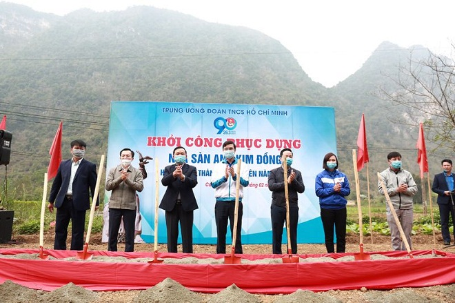 Lễ khởi công phục dựng ngôi nhà sàn của anh Kim Đồng diễn ra tại xóm Nà Mạ, xã Trường Hà, huyện Hà Quảng, tỉnh Cao Bằng