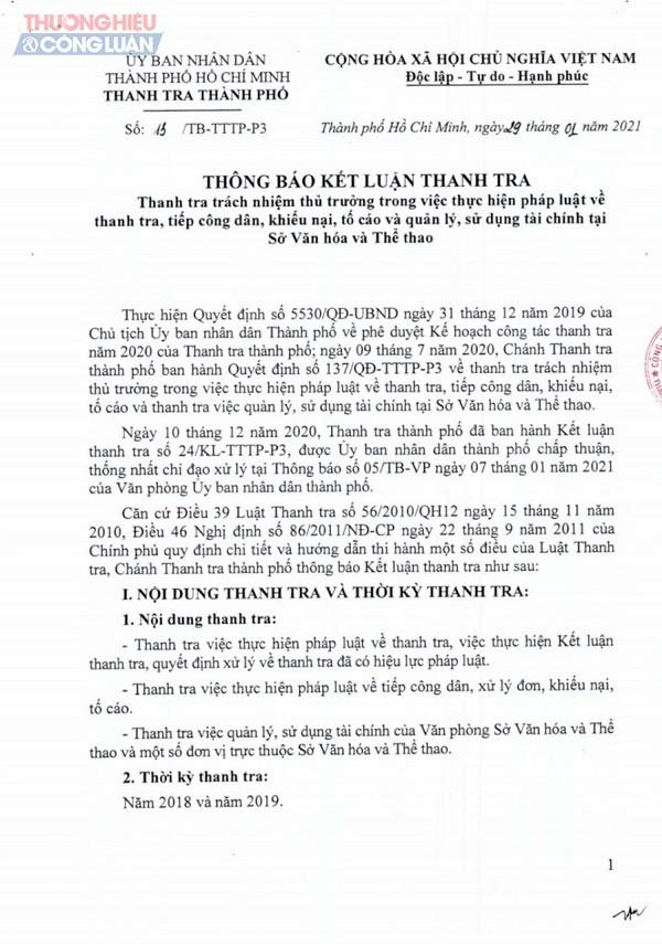 Một phần kết luận thanh tra của Thanh tra TP.HCM về việc