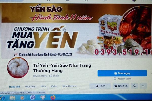 Trang facebook: Tổ yến- Yến sào Nha Trang thượng hạng