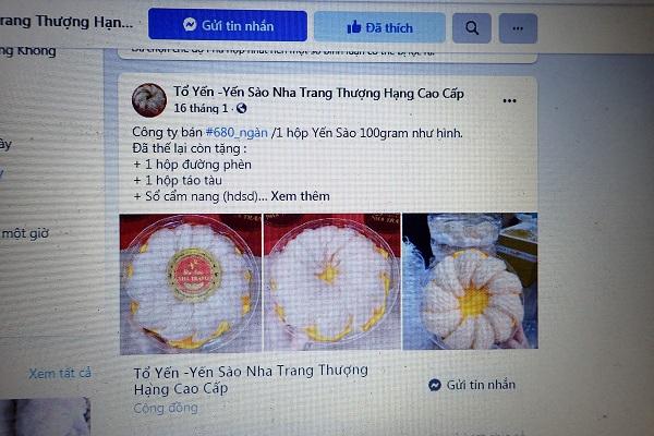Yến sào cao cấp Nha Trang được rao bán 680.000 đồng/ 100 gram