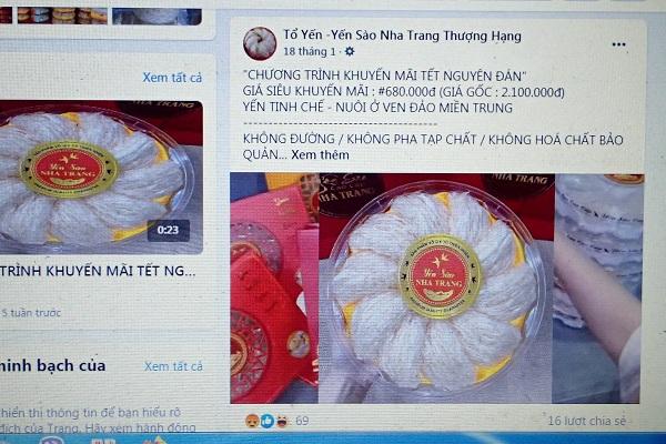 Trên trang yến sào Nha Trang thượng hạng cũng rao bán yến sào Nha Trang 680.000 đồng/ 100 gram