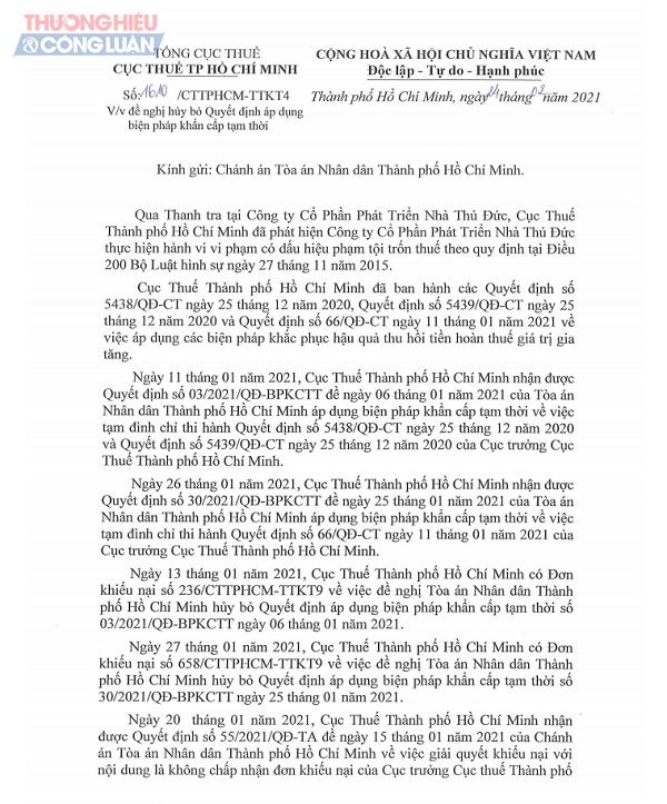 Một phần văn bản số 1610 /CTTPHCM-TTKT4 của Cục Thuế TP.HCM gửi Chánh án Tòa án Nhân dân TP.HCM.