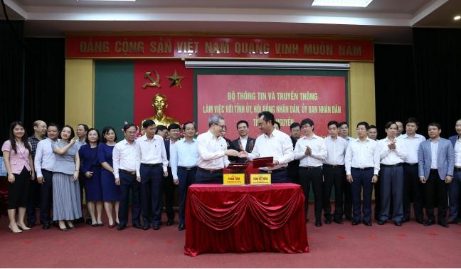 Bộ Thông tin và Truyền thông với tỉnh Thái Nguyên làm việc và ký biên bản ghi nhớ về hợp tác phát triển thông tin.