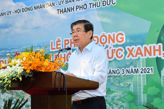 Chủ tịch UBND TPHCM Nguyễn Thành Phong phát biểu tại lễ phát động ở TP Thủ Đức.