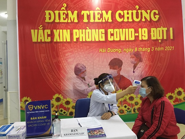 Điểm tiêm vaccine COVID-19 tại Trung tâm Y tế thành phố Hải Dương
