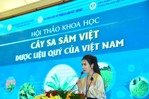 CEO Đinh Thiên Lý - Tổng Giám đốc Công ty Lycosme Việt Nam phát biểu tại Hội thảo khoa học về cây sa sâm Việt