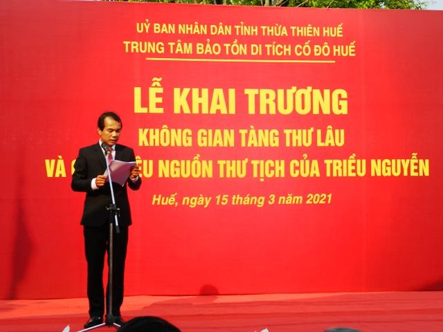 Ông Võ Lê Nhật, Giám đốc TTDTCĐ Huế phát biểu khai trương