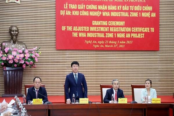 Chủ tịch UBND tỉnh Nghệ An Nguyễn Đức Trung phát biểu tại buổi lễ