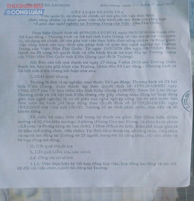 Ảnh: Kết luận của Thanh tra Sở Lao động Thương binh & Xã hội tỉnh Kiên Giang.