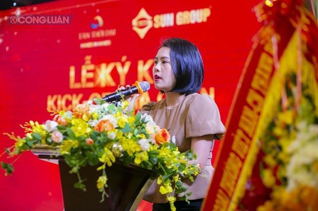 Bà Trịnh Kim Ngần- Đại diện Chủ đầu tư phát biểu tại buổi lễ
