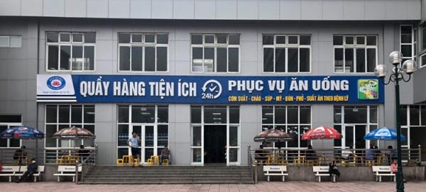 cửa hàng tiện ích xen kẽ với căng tin phục vụ ăn uống trong khuôn viên Bệnh viện Sản nhi Ninh Bình của Công ty Sen Hồng