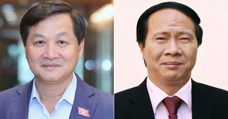 Hai tân phó thủ tướng Lê Minh Khái (trái) và Lê Văn Thành - Ảnh: Q.P