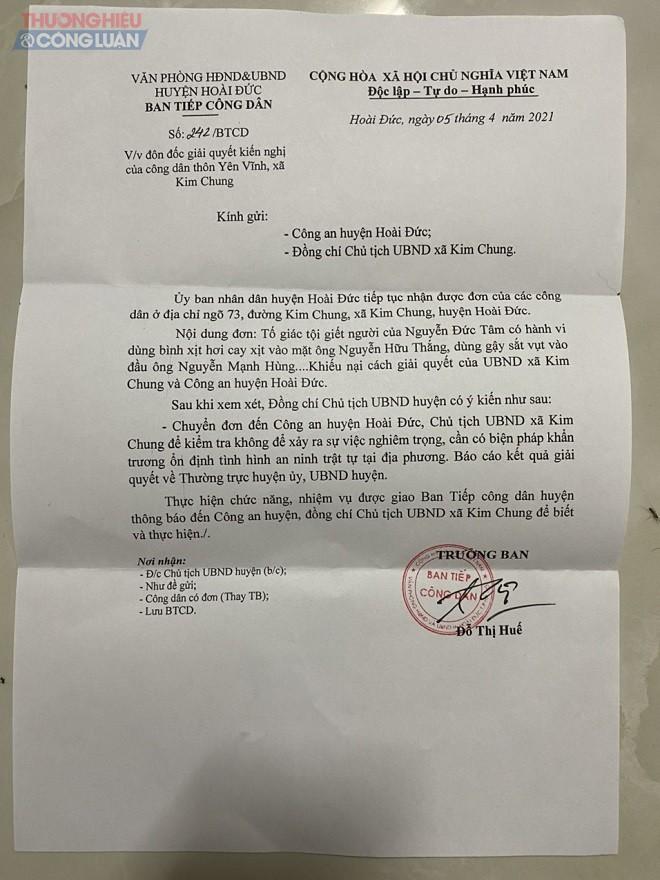 Văn phòng Huyện ủy yêu cuầ Công an huyện, UBND xã Kim Chung giải quyết đơn khiếu nại của người dân