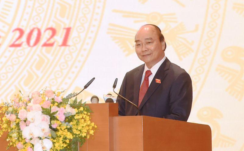 Chủ tịch nước Nguyễn Xuân Phúc phát biểu tại buổi lễ. - Ảnh: VGP/Quang Hiếu