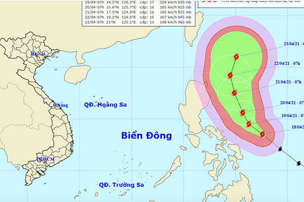 hướng đi của siêu bão Surigae. Ảnh: NCHMF