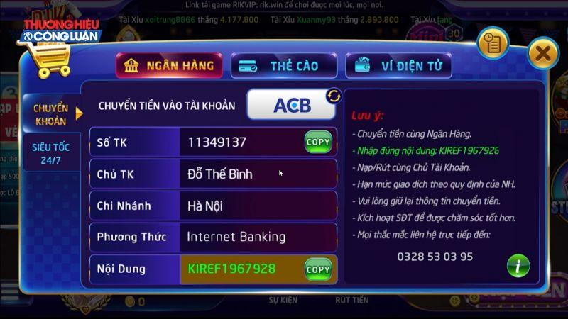 Số tài khoản được đăng công khai trên cổng game rikvip