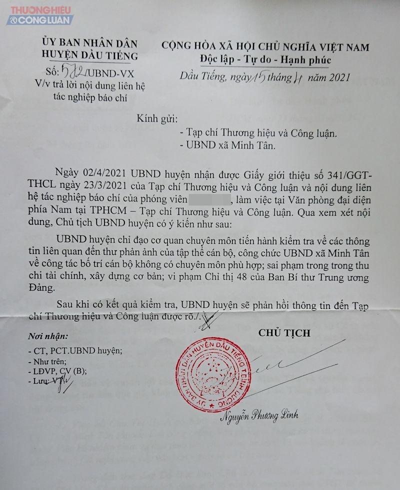 Chủ tịch UBND huyện Dầu Tiếng chỉ đạo cơ quan chuyên môn tiến hành kiểm tra về các thông tin liên quan đến đơn thư phản ánh.